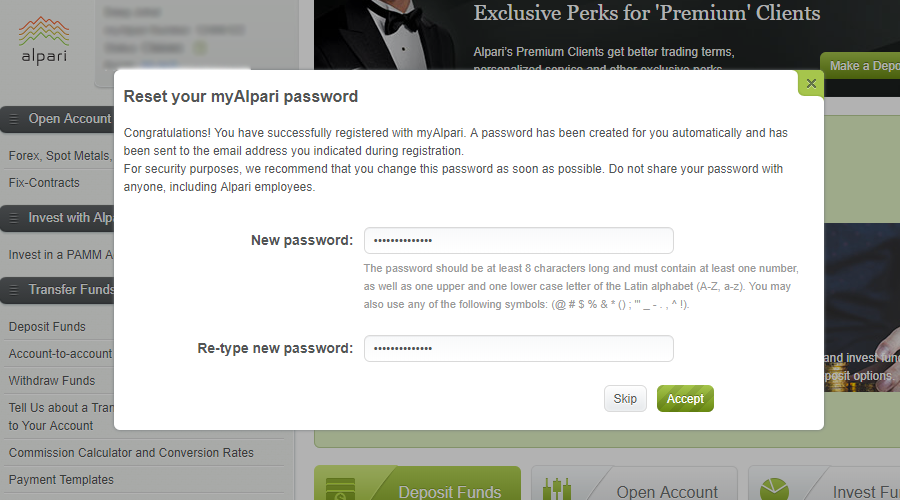 Set Apari Account password