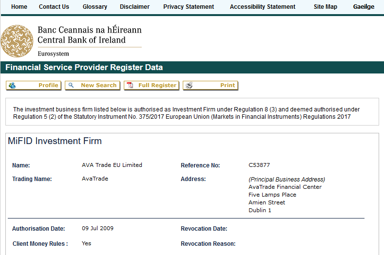 AvaTrade Regulation with Bank of Ireland