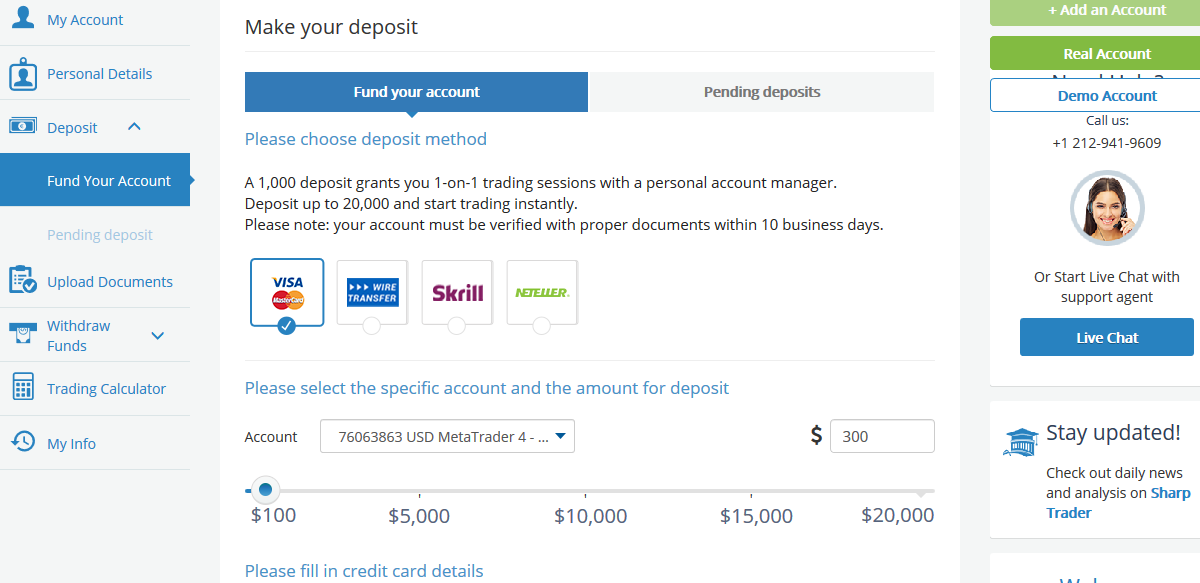 AvaTrade Deposit Methods